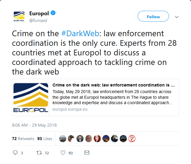- Screenshot 2018 6 1 Europol on Twitter - Europol introduces EU-wide team to tackle dark web activity
