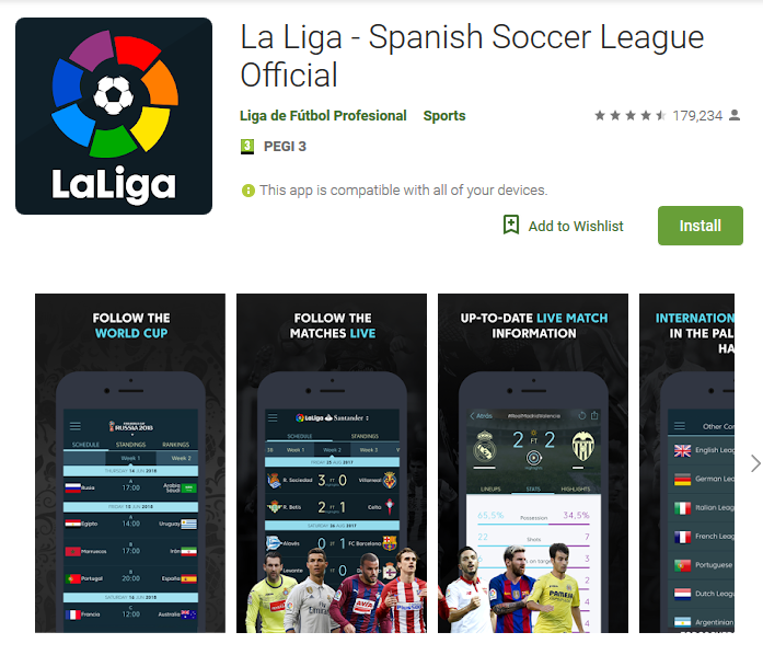 - Screenshot 2018 6 12 La Liga Spanish Soccer League Official Apps on Google Play - La Liga app using microphone of phone to record audio clips
