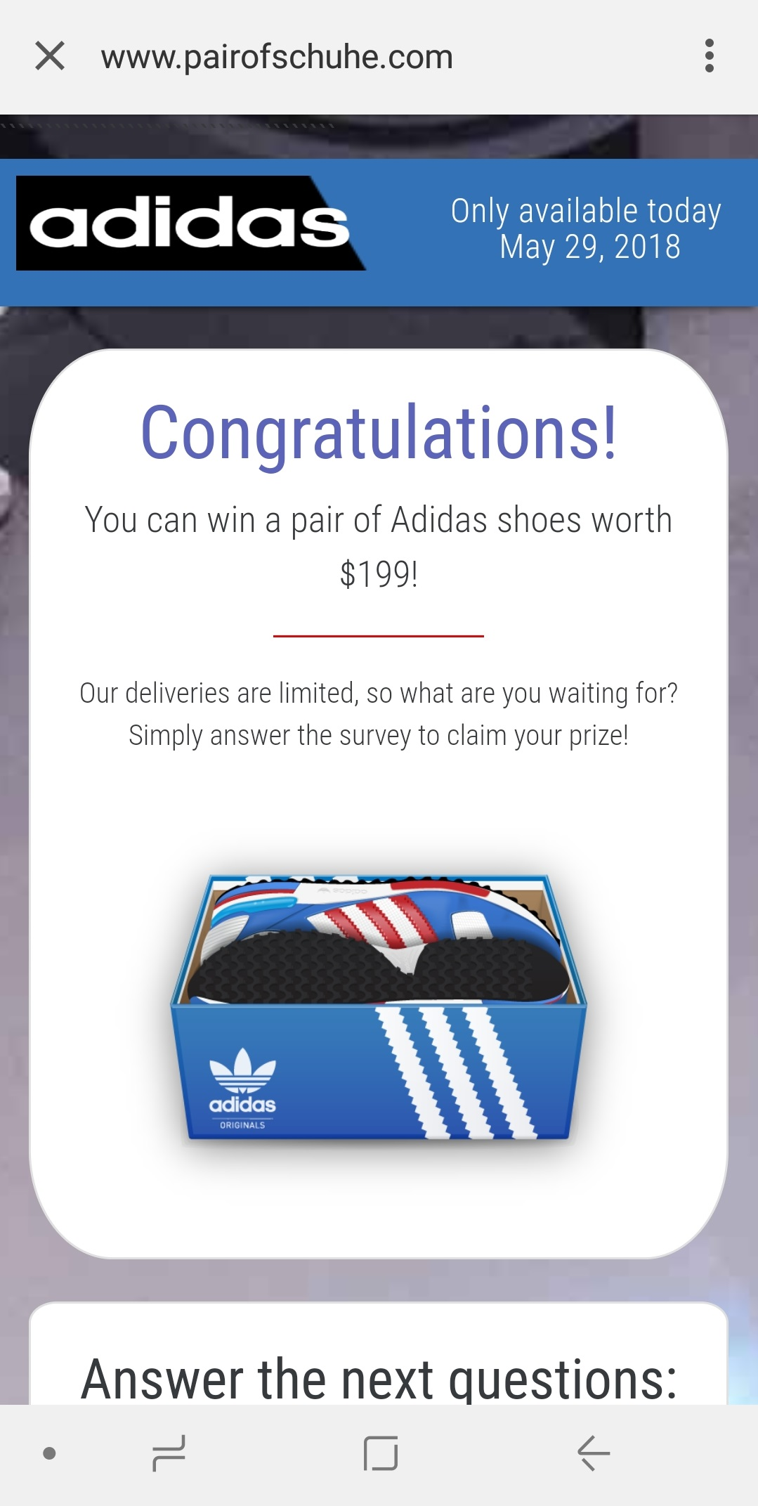 "- pairofschuhe - Phishing campaign via WhatsApp offers sport shoes as ""prize"""