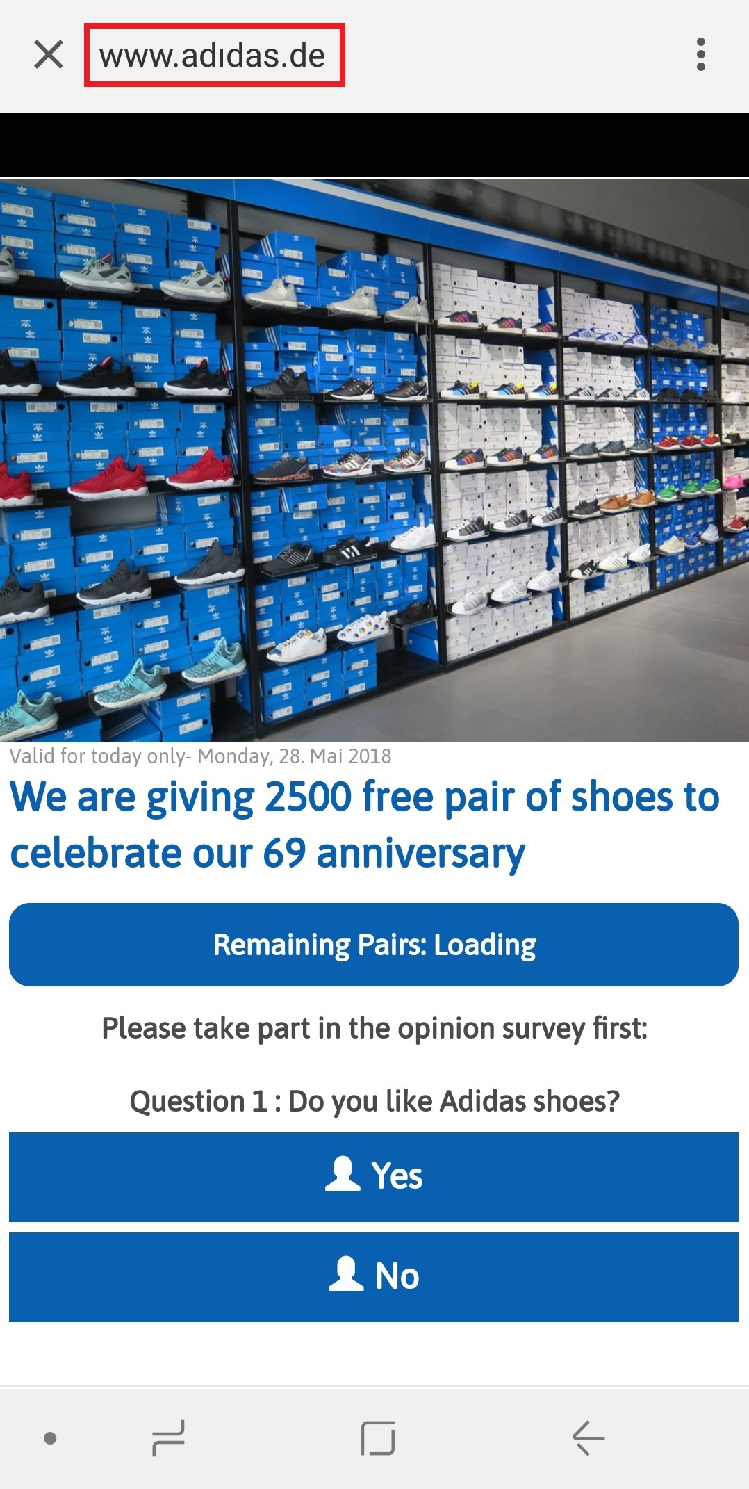 "- questions - Phishing campaign via WhatsApp offers sport shoes as ""prize"""