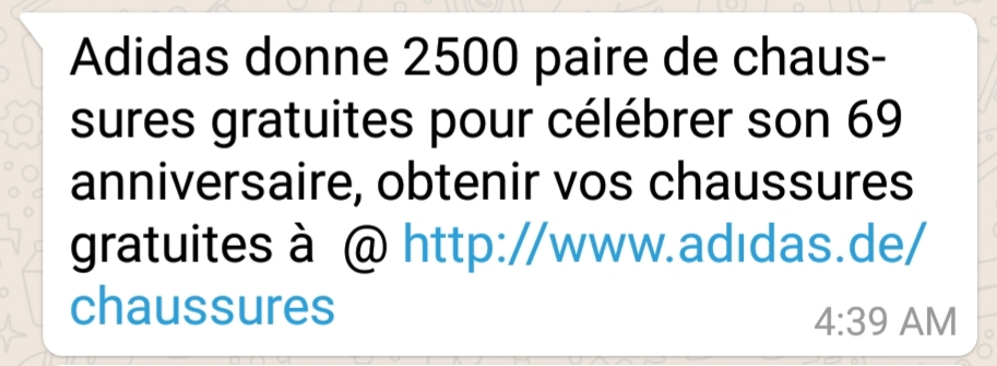 "- whatsapp msg - Phishing campaign via WhatsApp offers sport shoes as ""prize"""