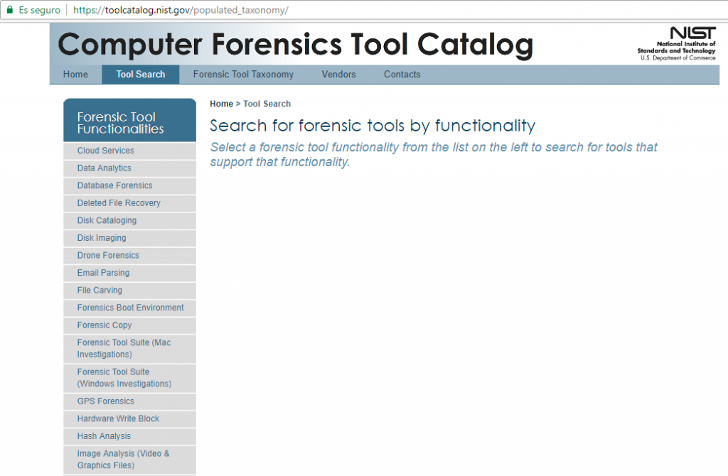 NIST-Repository für forensische Werkzeuge (US National Institute of Standards and Technology)