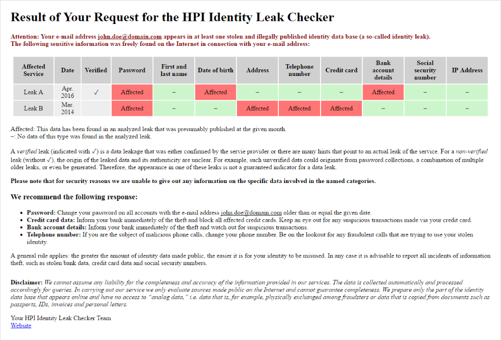 A sample result from the Identity Leak Checker of the Hasso Plattner Institute