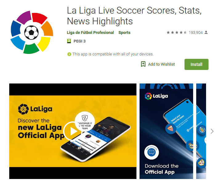 - Screenshot La Liga 1 - Spain's top soccer league fined over its app's 'tactics'