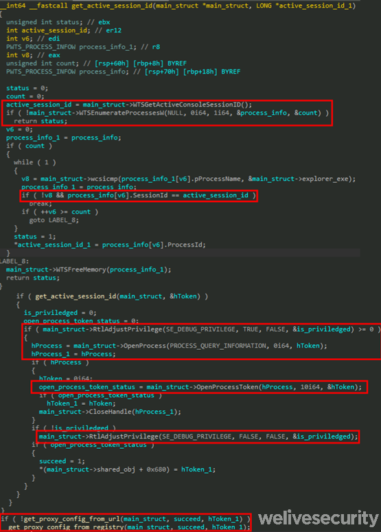 Figure 8. Decompiled code responsible for user impersonation before retrieving the proxy configuration