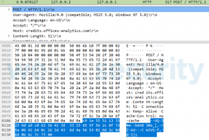 Figure 4. A Wireshark dump showing the data POSTed by the backdoor