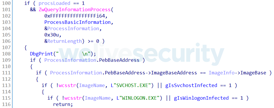 Figure 10. Hex Rays decompiled NotifyRoutine checking if svchost.exe or winlogon.exe is being loaded