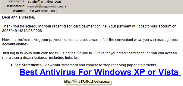 Spam de MS Antivirus