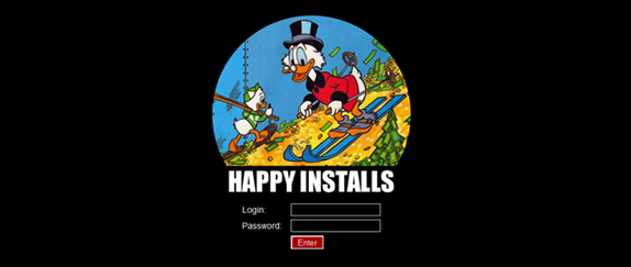 Panel de acceso a HAPPYINSTALLS