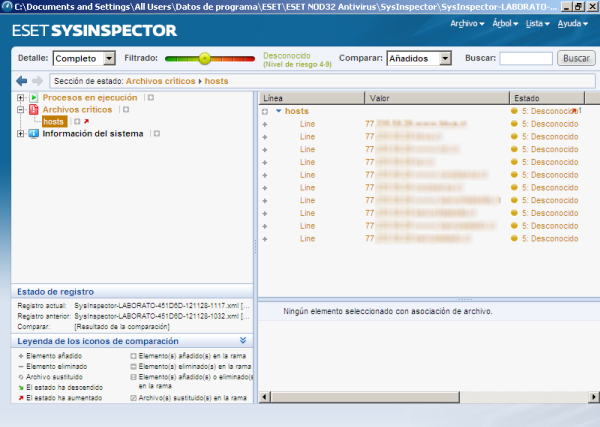 ESET SysInspector y archivo hosts malicioso