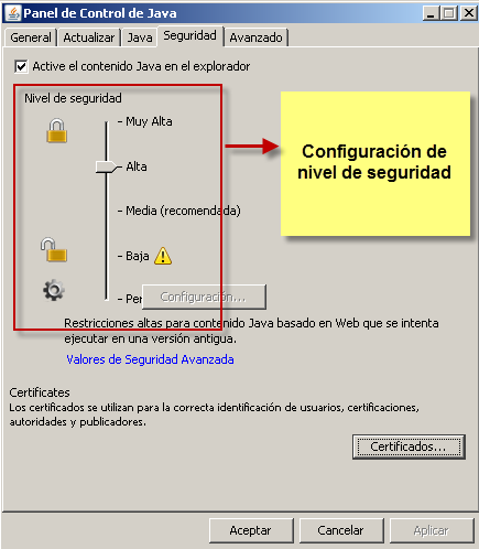 Nivel de seguridad de Java
