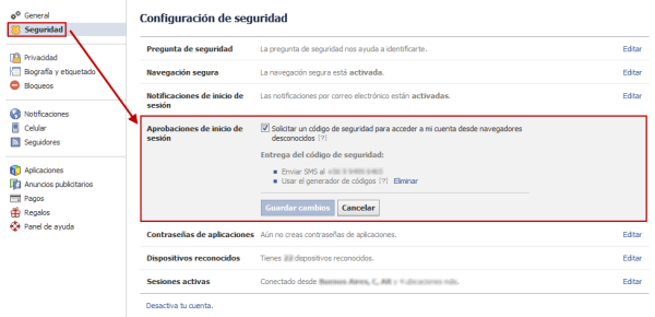 Activar doble autenticación en Facebook