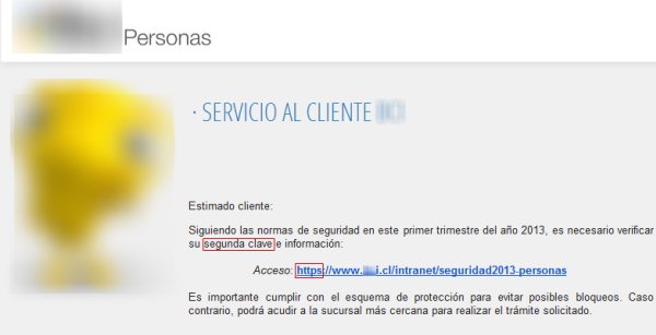 Phishing a banco chileno