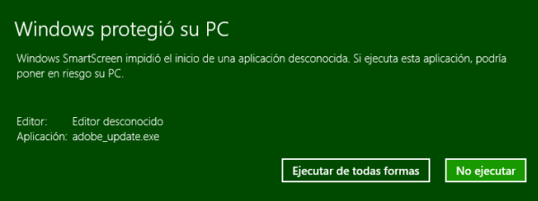 Windows SmartScreen informando sobre aplicación desconocida